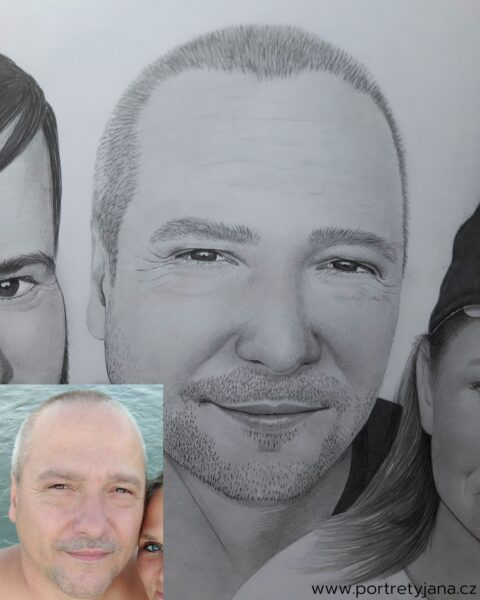 Portréty Jana - kresby portrétů podle fotografie